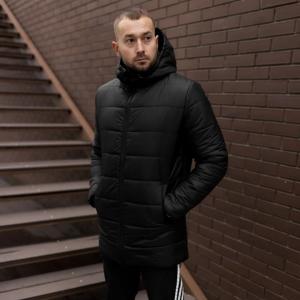 Мужская зимняя удлинённая куртка, черная