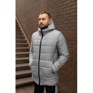 Мужская зимняя удлинённая куртка, серая