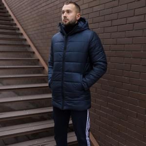 Мужская зимняя удлинённая куртка, синяя