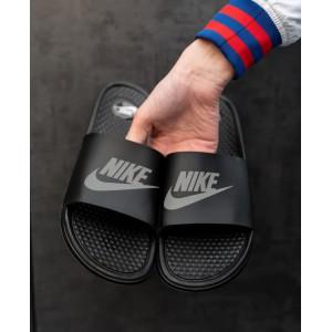 Тапки  Nike Black  (рефлектив)