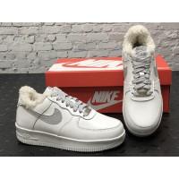 Низкие зимние кроссовки Nike Air Forc (кожа three)