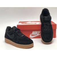Низкие зимние кроссовки Nike Air Force (замша one)